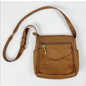 Vintage Fossil Leather Crossbody Flap Bag Leather